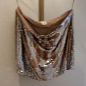 Haute Hippie silver and bronze Sequin mini  L